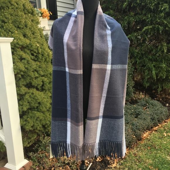 839e4e476f1 Color Block Check Sky Cashmere Virgin Wool Scarf